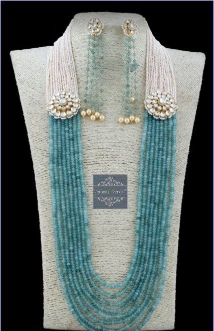 VeroniQ Trends-Designer Raani Haar Necklace Set in Multilayer Pearls,Faux Gems,Meenakari,Kundan Work-D70-Eid