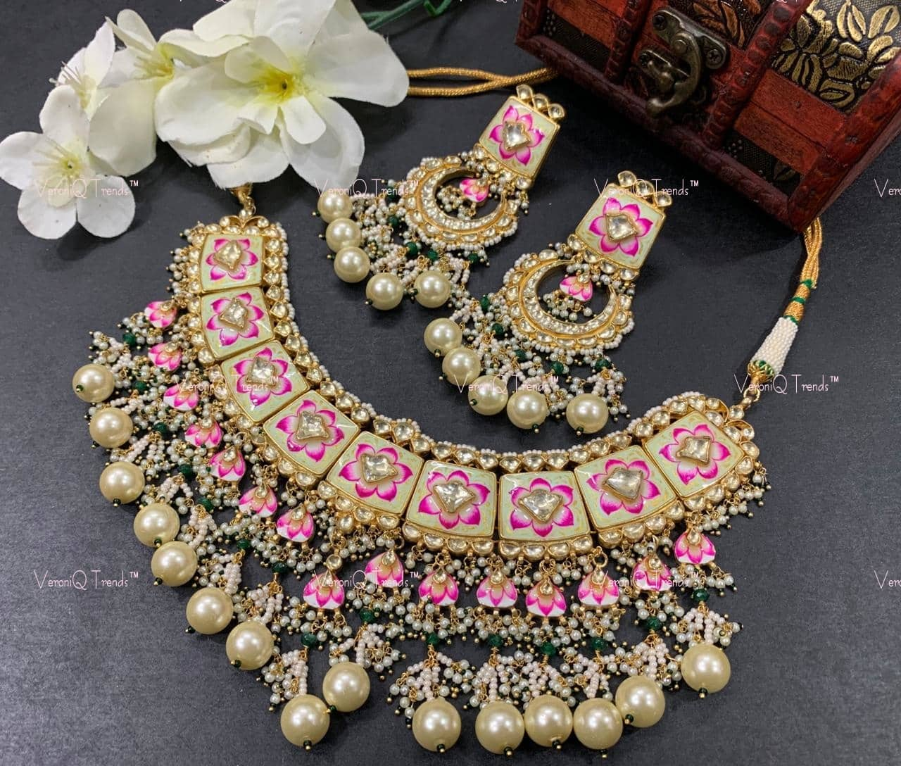 Designer KundanPolki Full Coverage heavy Bridal Necklace Set in Multilayer Kundan Meenakari Work D55 VeroniQ Trends